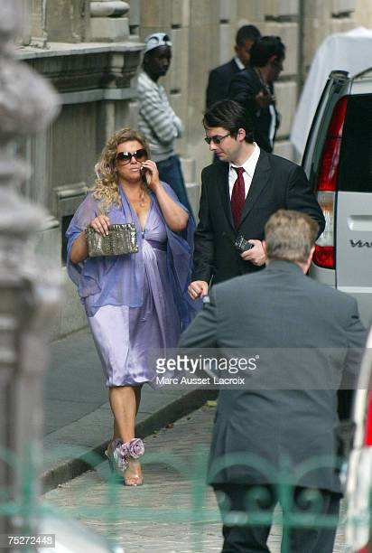 Tony Parker's mother Pamela Firestone leaves Saint Germain L'Auxerrois church after Tony Parker and Eva Longoria's wedding on July 7 in Paris France