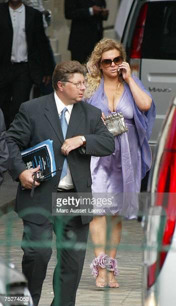 Tony Parker's mother Pamela Firestone leaves Saint Germain L'Auxerrois church after Tony Parker and Eva Longoria's wedding on July 7 in Paris France