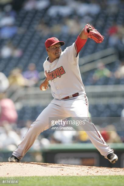 Tony Pena of the Arizona Diamondbacks pitches during the game against the Pittsburgh Pirates at PNC Park in Pittsburgh Pennsylvania on June 9 2008...