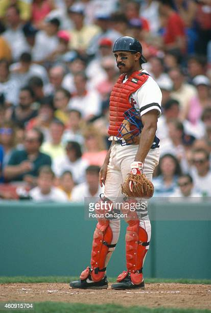Tony Pena of the Boston Red Sox looks on during an Major League Baseball game circa 1990 at Fenway Park in Boston, Massachusetts. Pena played for the...