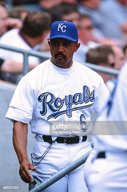 Tony Pena of the Kansas City Royals during the game against the Minnesota Twins on May 16, 2002 at Kauffman Stadium in Kansas City, Missouri.