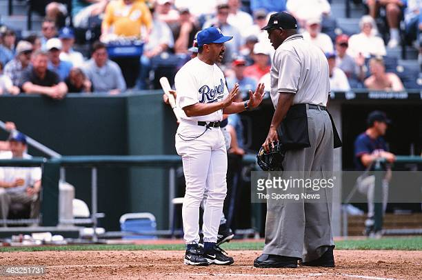 Tony Pena of the Kansas City Royals talks with umpire Chuck Meriwether during the game against the Minnesota Twins on May 16 2002 at Kauffman Stadium...
