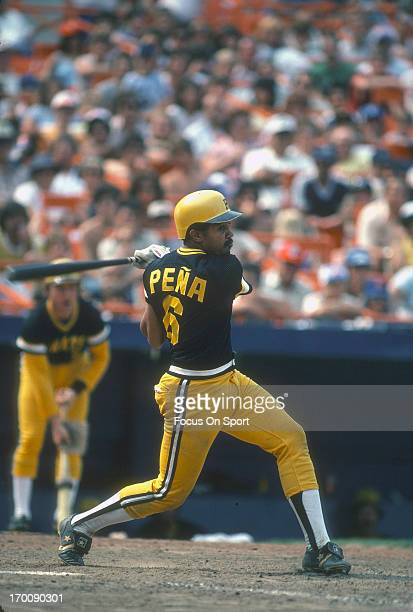 Tony Pena of the Pittsburgh Pirates bats against the New York Mets during an Major League Baseball game circa 1982 at Shea Stadium in the Queens...