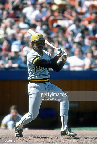 Tony Pena of the Pittsburgh Pirates bats against the New York Mets during an Major League Baseball game circa 1985 at Shea Stadium in the Queens...