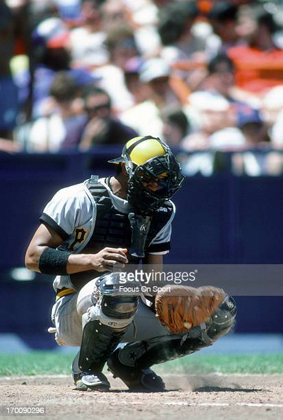Tony Pena of the Pittsburgh Pirates in action against the New York Mets during an Major League Baseball game circa 1982 at Shea Stadium in the Queens...