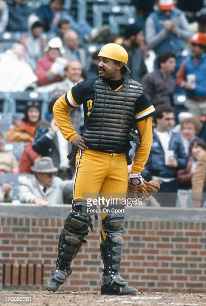 Tony Pena of the Pittsburgh Pirates looks on against the Chicago Cubs during an Major League Baseball game circa 1982 at Wrigley Field in Chicago...