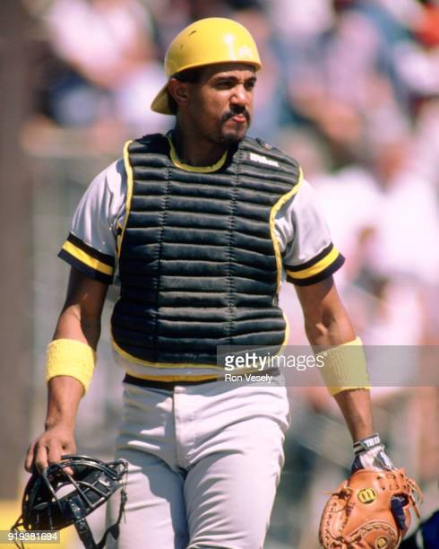 Tony Pena of the Pittsburgh Pirates looks on during a major league baseball spring training game in Bradenton, Florida prior to the 1986 season.