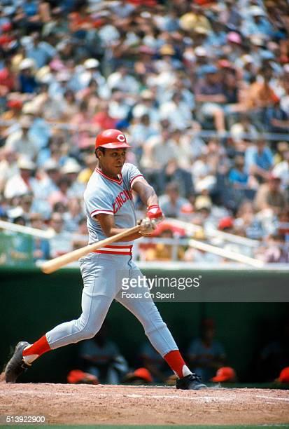 Tony Perez of the Cincinnati Reds bats against the Philadelphia Phillies during an Major League Baseball circa 1974 at Veterans Stadium in...
