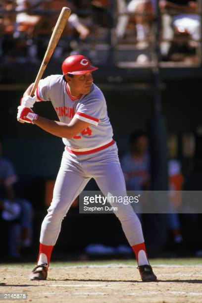 Tony Perez of the Cincinnati Reds stands ready at bat during a MLB game in the 1985 season.