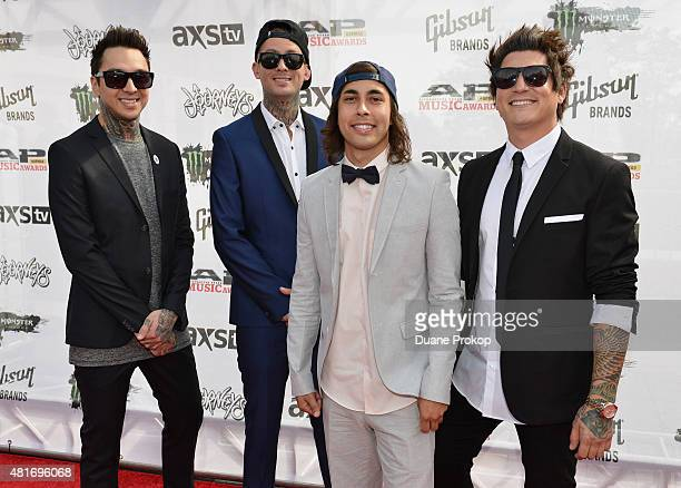 Tony Perry Mike Fuentes Vic Fuentes and Jaime Preciado of Pierce The Veil attend the 2015 Journeys AP Music Awards Fueled by Monster Energy Drink at...
