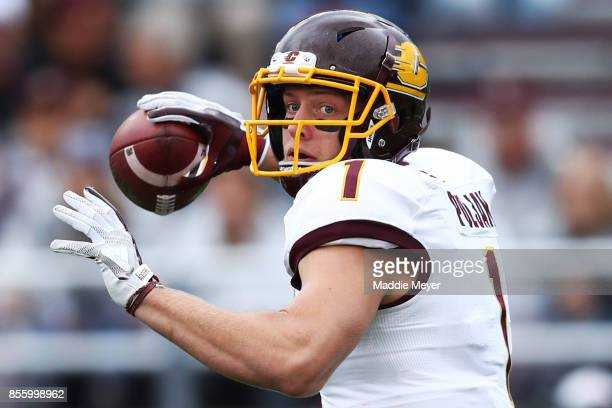 Tony Poljan of the Central Michigan Chippewas makes a pass during the second half at Alumni Stadium on September 30 2017 in Chestnut Hill...
