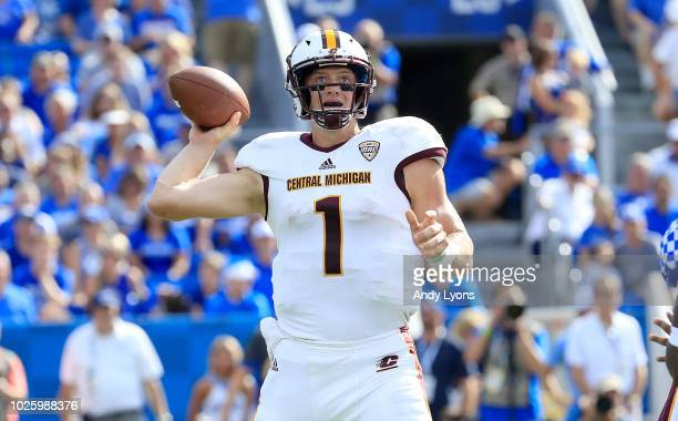 Tony Poljan of the Central Michigan Chippewas throws the ball against the Kentucky Wildcats at Commonwealth Stadium on September 1 2018 in Lexington...