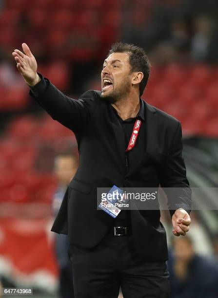 Tony Popovic coach of the Wanderers looks on during the round 22 ALeague match between the Western Sydney Wanderers and Adelaide United at Spotless...
