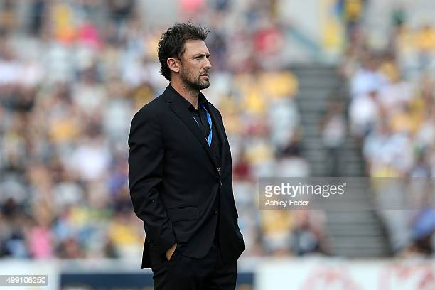 Tony Popovic coach of the Wanderes looks on during the round eight ALeague match between the Central Coast Mariners and the Western Sydney Wanderers...