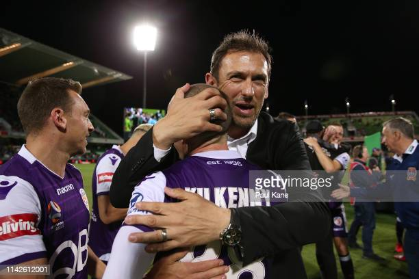 Tony Popovic head coach of the Glory embraces Neil Kilkenny after winning the Premiers plate during the round 25 ALeague match between the Perth...
