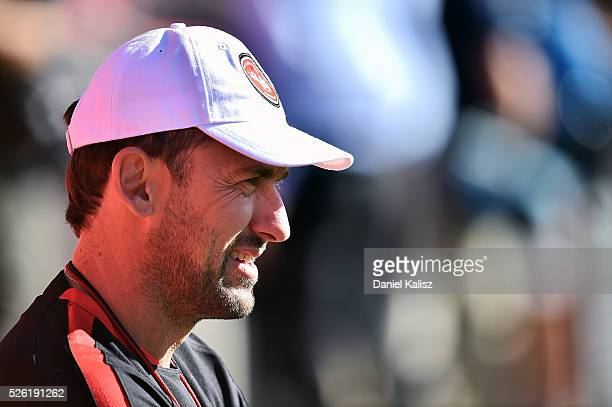 Tony Popovic head coach of the Wanderers looks on during a Western Sydney Wanderers ALeague training session at Coopers Stadium on April 30 2016 in...