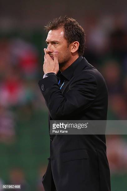 Tony Popovic head coach of the Wanderers looks on during the round 11 ALeague match between the Perth Glory and the Western Sydney Wanderers at nib...