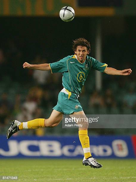 Tony Popovic of Australia in action during the Oceania Nations Cup and the Confederations Cup last qualifying match between Australian Socceros and...