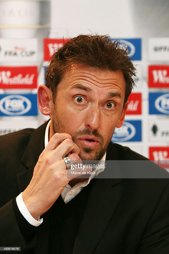 Tony Popovic of Western Sydney speaks to media during a press conference after the FFA Cup match between Adelaide City and Western Sydney Wanderers at Marden Sports Complex on August 12, 2014 in Adelaide, Australia.