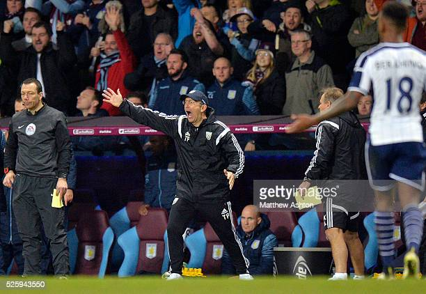 Tony Pulis head coach / manager of West Bromwich Albion reacts to the red card shown to Claudio Yacob of West Bromwich Albion