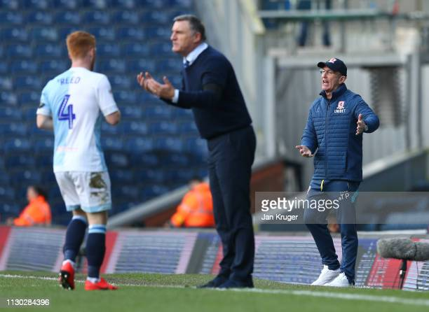 Tony Pulis Manager of Middlesbrough and Tony Mowbray Manager of Blackburn Rovers gives instructions 2 during the Sky Bet Championship match between...