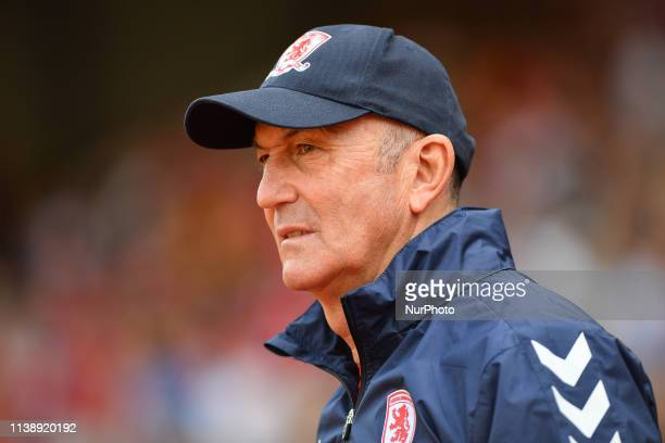 Tony Pulis manager of Middlesbrough during the Sky Bet Championship match between Nottingham Forest and Middlesbrough at the City Ground Nottingham...