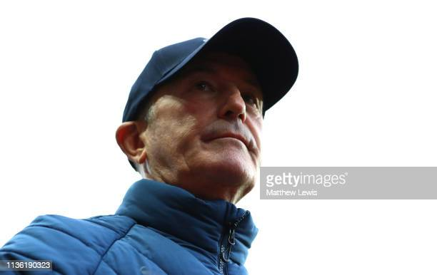 Tony Pulis manager of Middlesbrough looks on during the Sky Bet Championship match between Aston Villa and Middlesbrough at Villa Park on March 16...