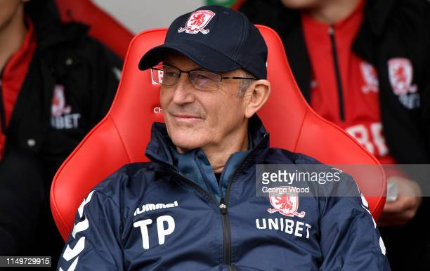 Tony Pulis manager of Middlesbrough looks on during the Sky Bet Championship match between Rotherham United and Middlesbrough at The New York Stadium...