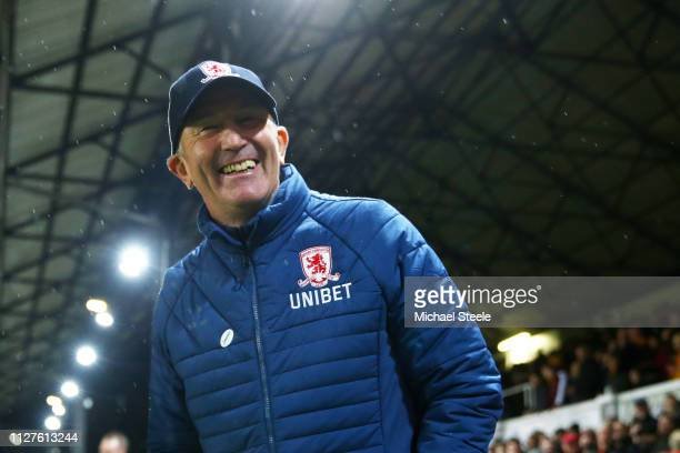 Tony Pulis, Manager of Middlesbrough reacts during the FA Cup Fourth Round Replay match between Newport County AFC and Middlesbrough at Rodney Parade...