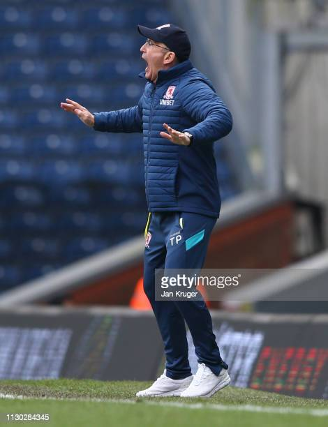 Tony Pulis Manager of Middlesbrough reacts during the Sky Bet Championship match between Blackburn Rovers and Middlesbrough at Ewood Park on February...