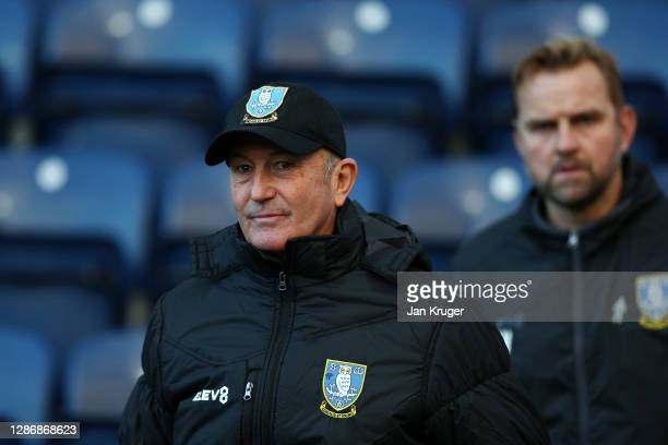Tony Pulis, Manager of Sheffield Wednesday looks on prior to the Sky Bet Championship match between Preston North End and Sheffield Wednesday at...