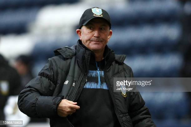 Tony Pulis, Manager of Sheffield Wednesday reacts during the Sky Bet Championship match between Preston North End and Sheffield Wednesday at Deepdale...