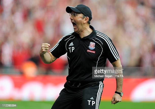 Tony Pulis, manager of Stoke celebrates the fifth goal during the FA Cup sponsored by E.ON semi final match between Bolton Wanderers and Stoke City...