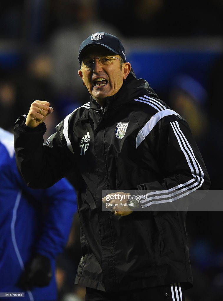 Tony Pulis, manager of West Brom celebrates after the FA Cup Fourth Round match between Birmingham City and West Bromwich Albion at St Andrews on January 24, 2015 in Birmingham, England.