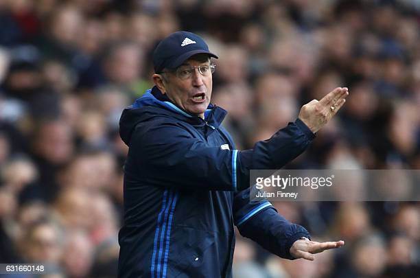 Tony Pulis Manager of West Bromwich Abion gives his team instructions during the Premier League match between Tottenham Hotspur and West Bromwich...