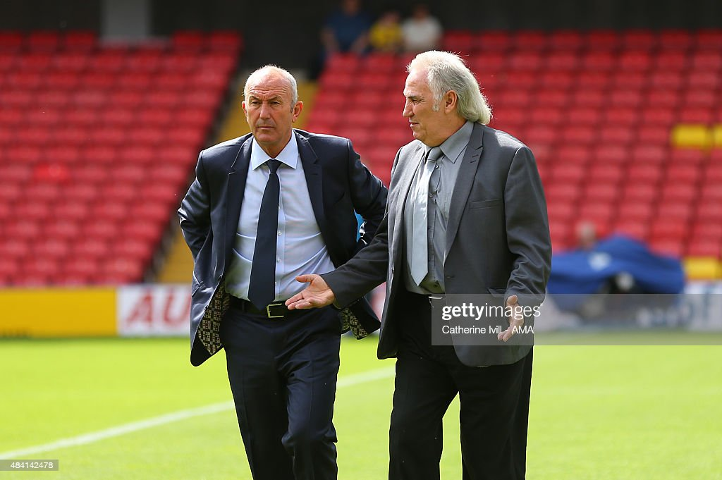 Tony Pulis manager of West Bromwich Albion and Gerry Francis before the Barclays premier League match between Watford and West Bromwich Albion at Vicarage Road on August 15, 2015 in Watford, England.