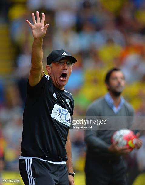 Tony Pulis manager of West Bromwich Albion gestures during the Barclays Premier League match between Watford and West Bromwich Albion at Vicarage...