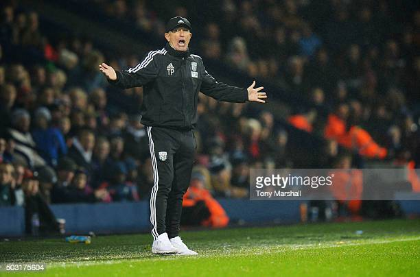 Tony Pulis manager of West Bromwich Albion gestures during the Barclays Premier League match between West Bromwich Albion and Stoke City at The...