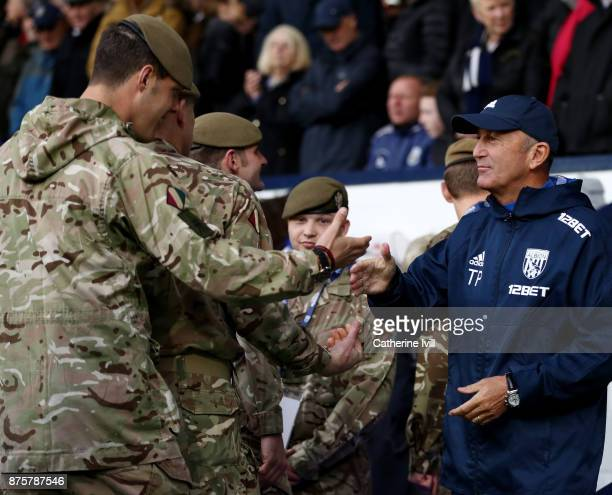 Tony Pulis Manager of West Bromwich Albion greets members of the military before the Premier League match between West Bromwich Albion and Chelsea at...
