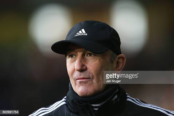 Tony Pulis manager of West Bromwich Albion looks on prior to the Barclays Premier League match between West Bromwich Albion and Newcastle United at...