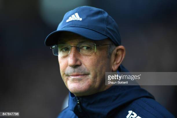 Tony Pulis Manager of West Bromwich Albion looks on prior to the Premier League match between West Bromwich Albion and West Ham United at The...