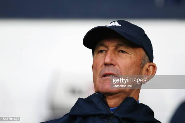 Tony Pulis Manager of West Bromwich Albion looks on prior to the Premier League match between West Bromwich Albion and Chelsea at The Hawthorns on...