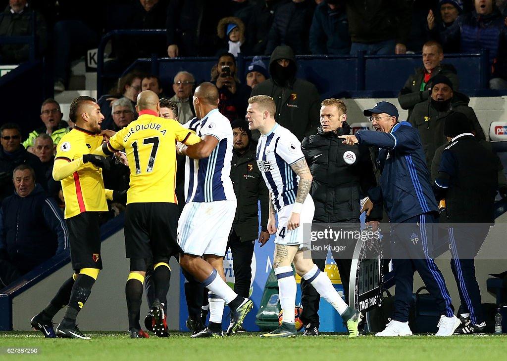 Tony Pulis manager of West Bromwich Albion reacts as Roberto Pereyra of Watford and James McClean of West Bromwich Albion clash during the Premier League match between West Bromwich Albion and Watford at The Hawthorns on December 3, 2016 in West Bromwich, England.