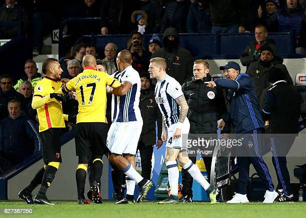 Tony Pulis manager of West Bromwich Albion reacts as Roberto Pereyra of Watford and James McClean of West Bromwich Albion clash during the Premier...