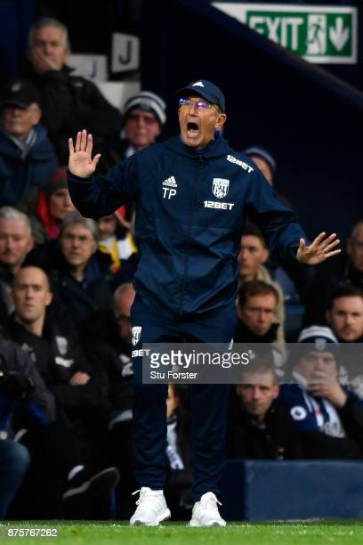 Tony Pulis Manager of West Bromwich Albion reacts during the Premier League match between West Bromwich Albion and Chelsea at The Hawthorns on...