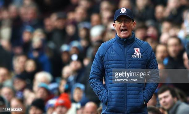 Tony Pulis mnger of Middlesbrough looks on during the Sky Bet Championship match between Aston Villa and Middlesbrough at Villa Park on March 16 2019...
