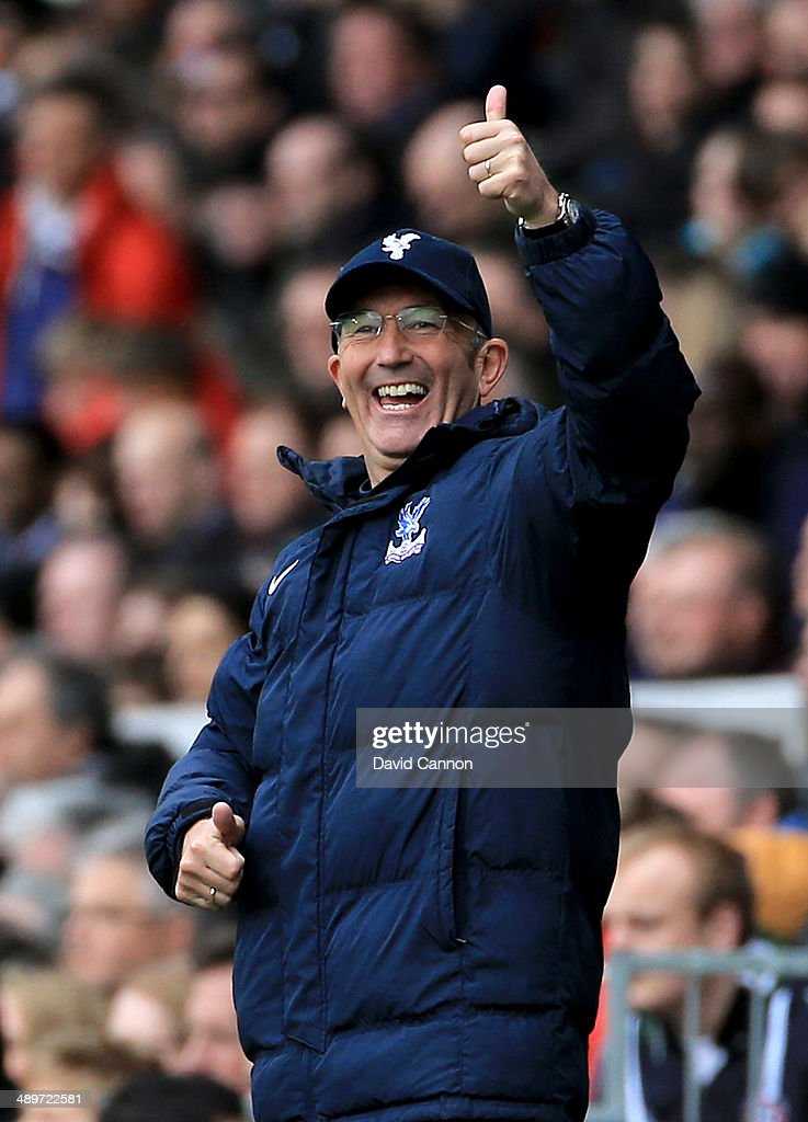 Tony Pulis the Crystal Palace manager during the Barclays Premier League match between Fulham and Crystal Palace at Craven Cottage on May 11, 2014 in London, England.