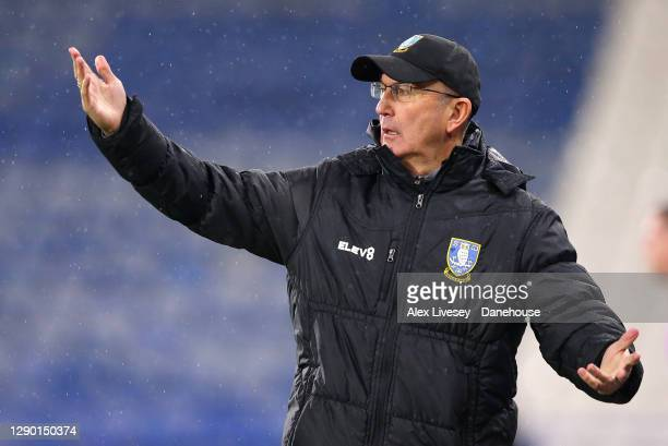 Tony Pulis the manager of Sheffield Wednesday looks on during the Sky Bet Championship match between Huddersfield Town and Sheffield Wednesday at...