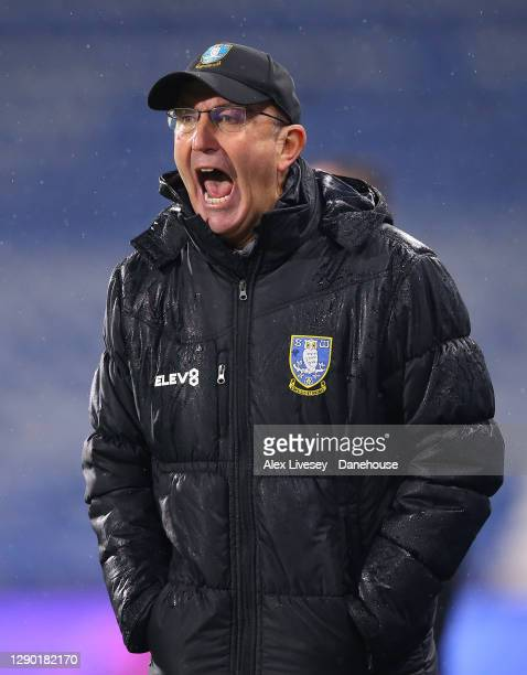 Tony Pulis the manager of Sheffield Wednesday reacts during the Sky Bet Championship match between Huddersfield Town and Sheffield Wednesday at John...