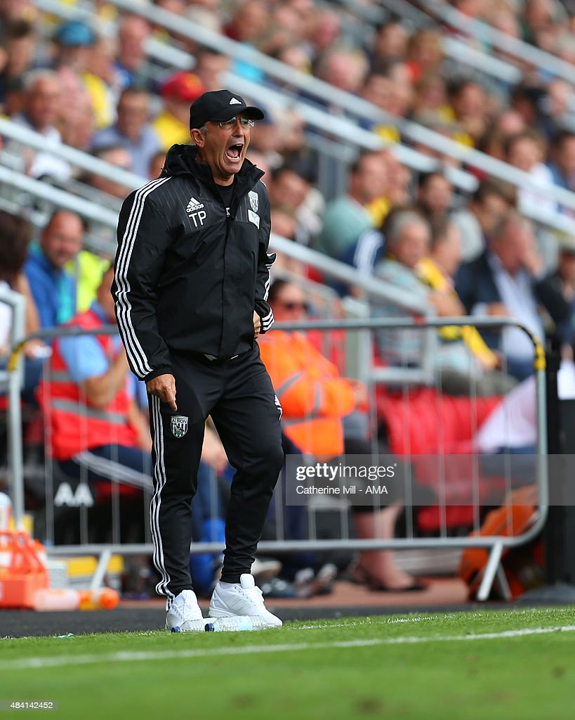 Tony Pulis the manager of West Bromwich Albion during the Barclays premier League match between Watford and West Bromwich Albion at Vicarage Road on August 15, 2015 in Watford, England.
